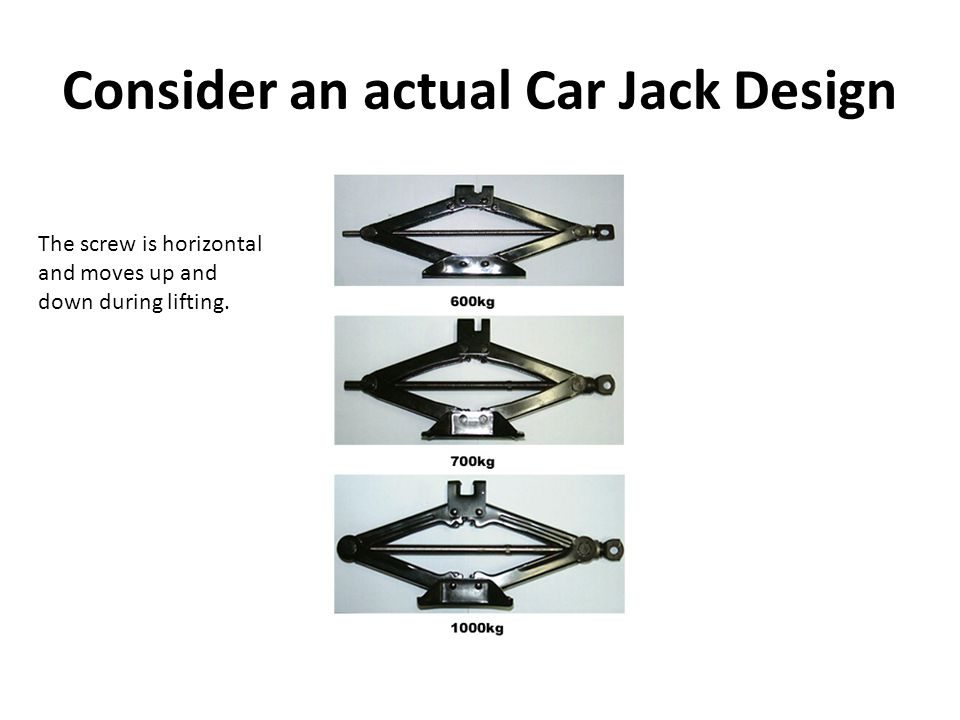 Consider an actual Car Jack Design