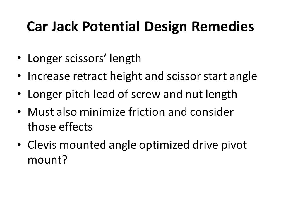 Car Jack Potential Design Remedies