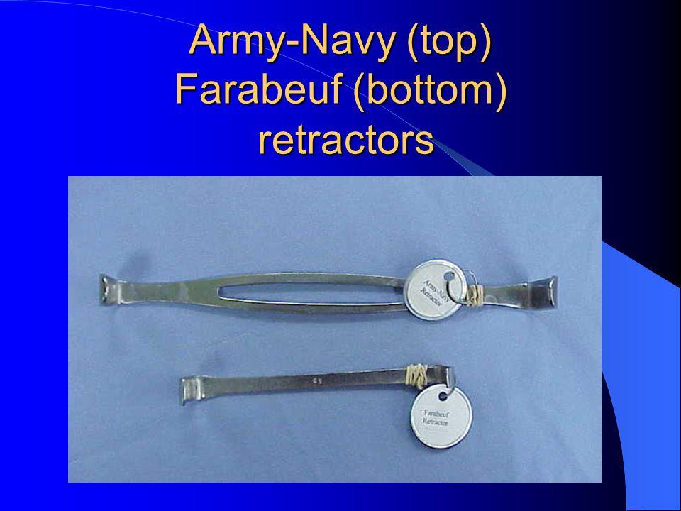 Army-Navy (top) Farabeuf (bottom) retractors