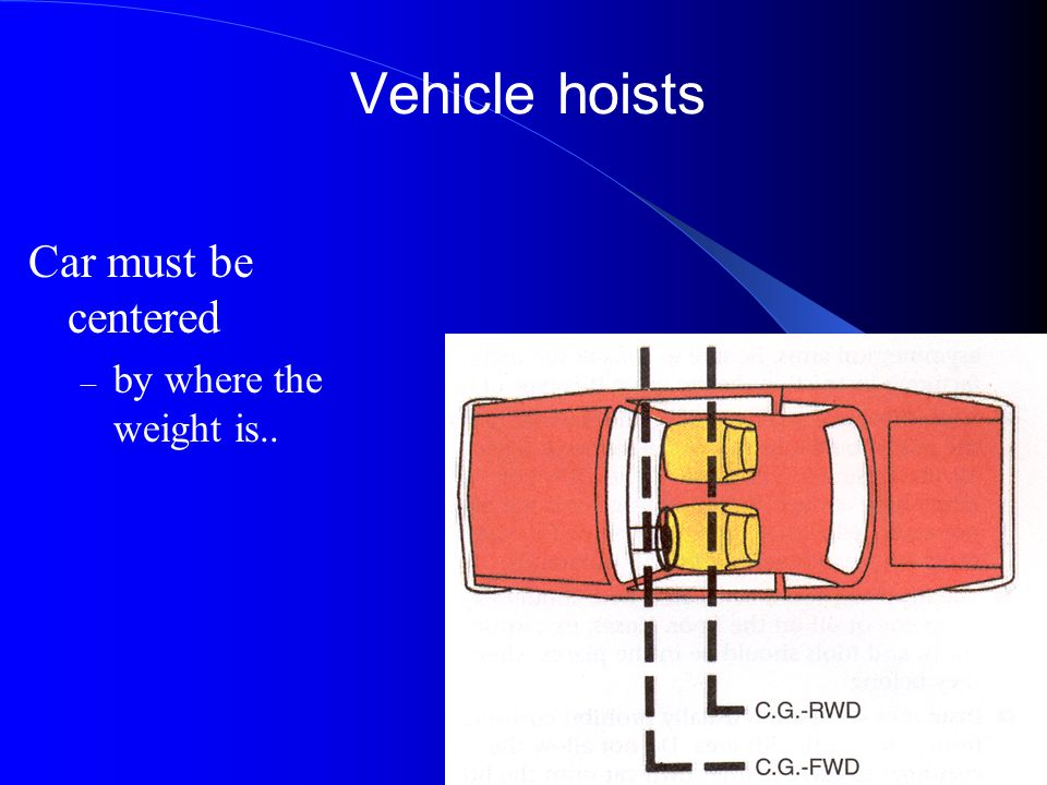 Vehicle hoists Car must be centered by where the weight is..