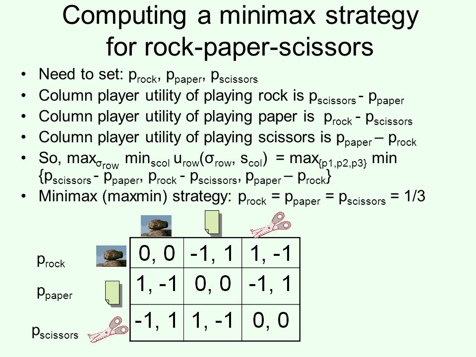 Computing a minimax strategy for rock-paper-scissors