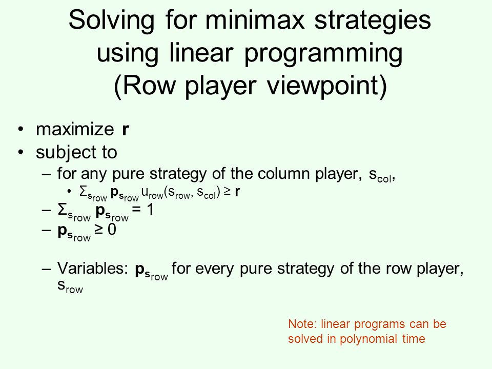 Solving for minimax strategies using linear programming (Row player viewpoint)