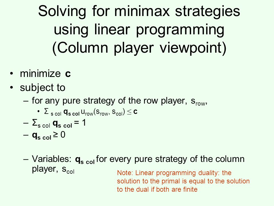 Solving for minimax strategies using linear programming (Column player viewpoint)