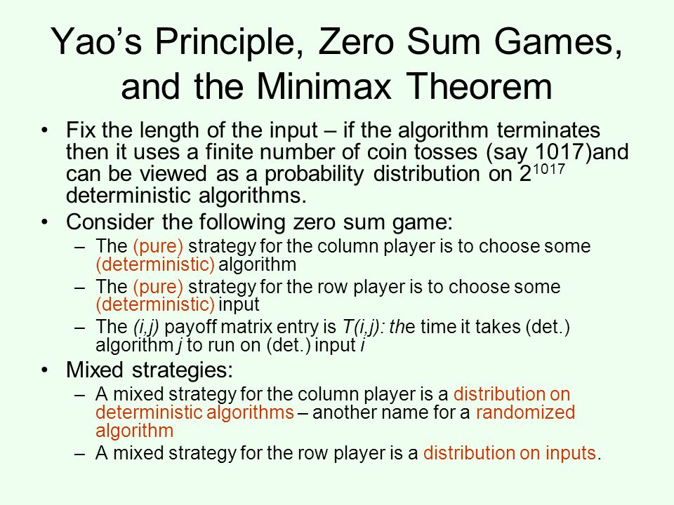 Yao's Principle, Zero Sum Games, and the Minimax Theorem