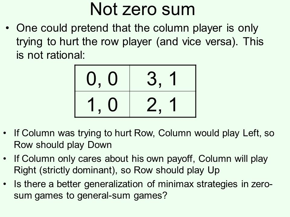 Not zero sum One could pretend that the column player is only trying to hurt the row player (and vice versa). This is not rational: