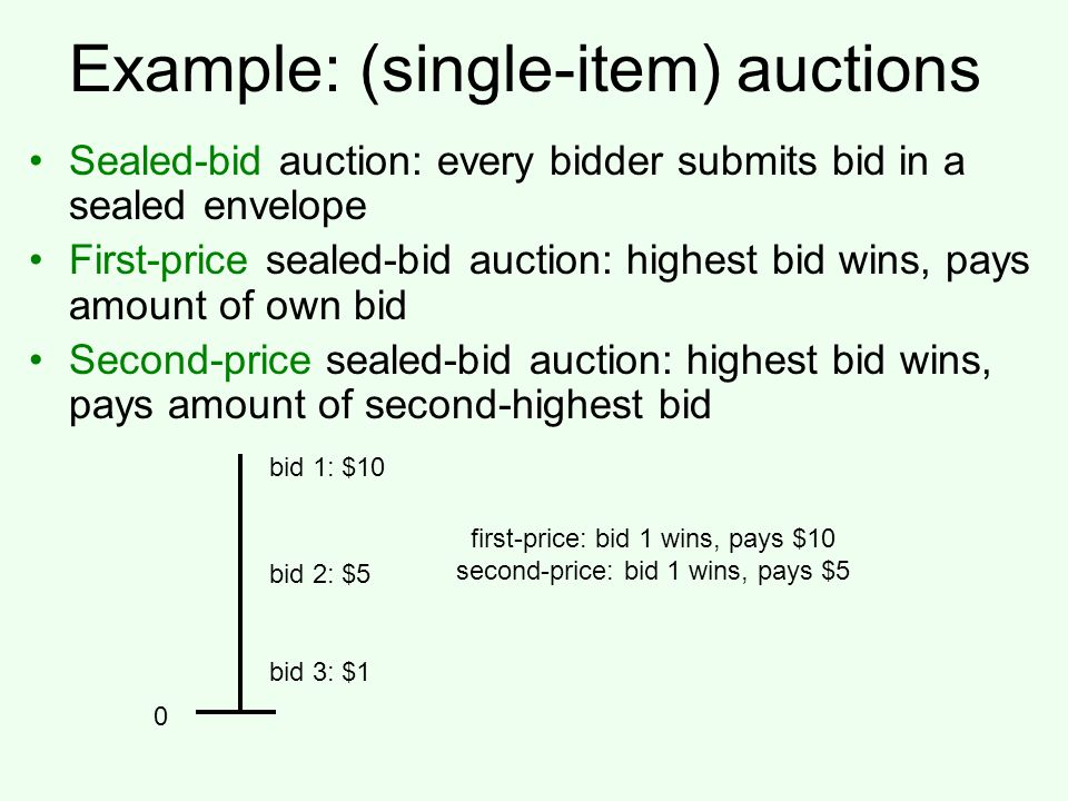 Example: (single-item) auctions