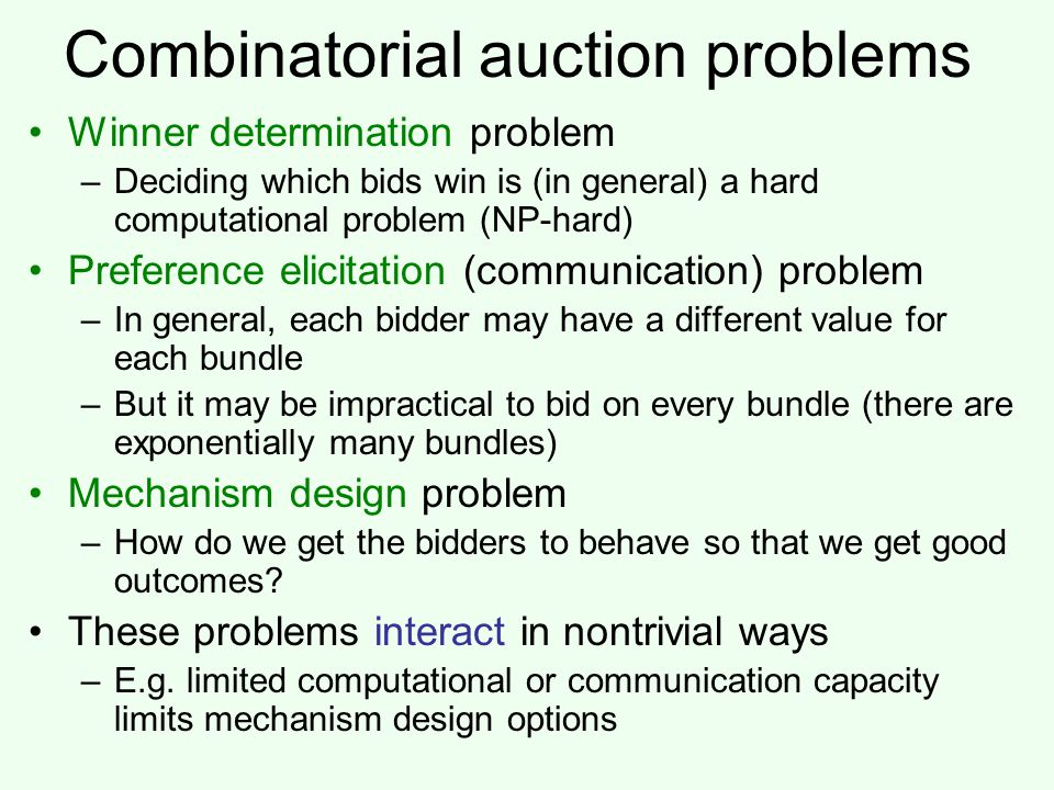 Combinatorial auction problems