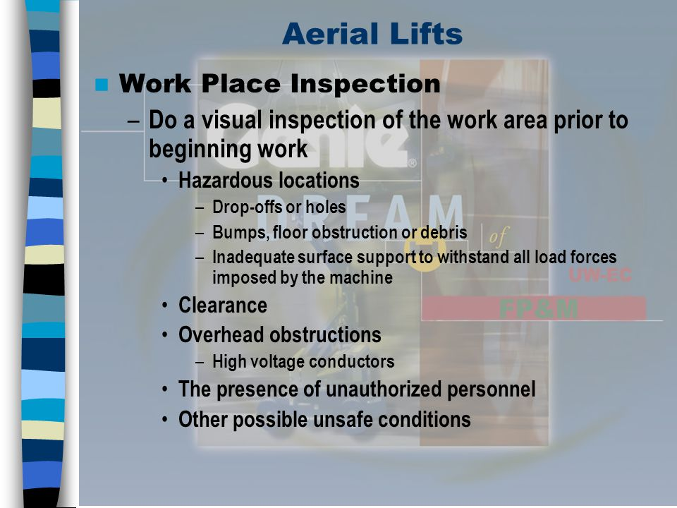 Aerial Lifts Work Place Inspection
