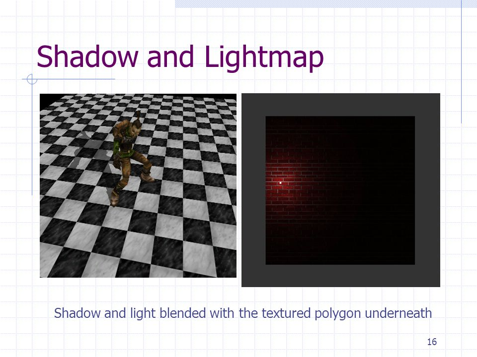 Shadow and Lightmap Shadow and light blended with the textured polygon underneath