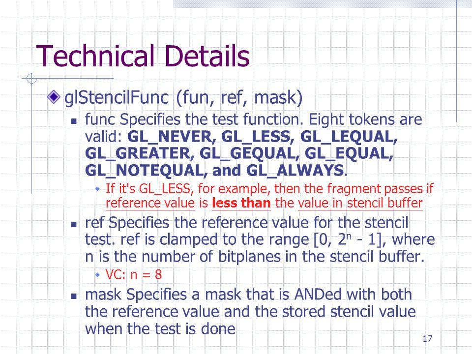 Technical Details glStencilFunc (fun, ref, mask)