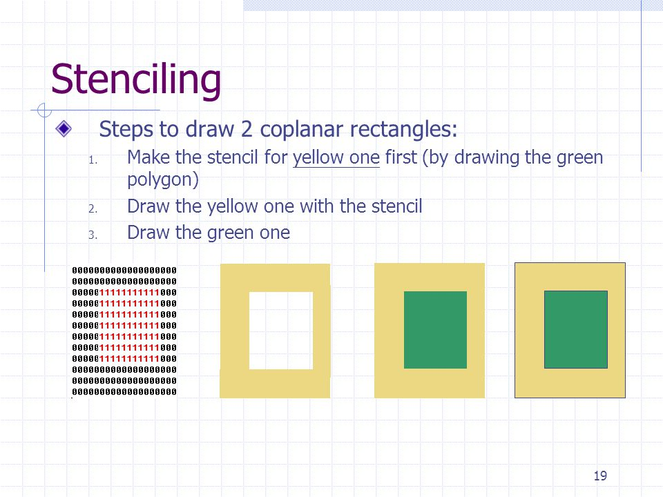 Stenciling Steps to draw 2 coplanar rectangles: