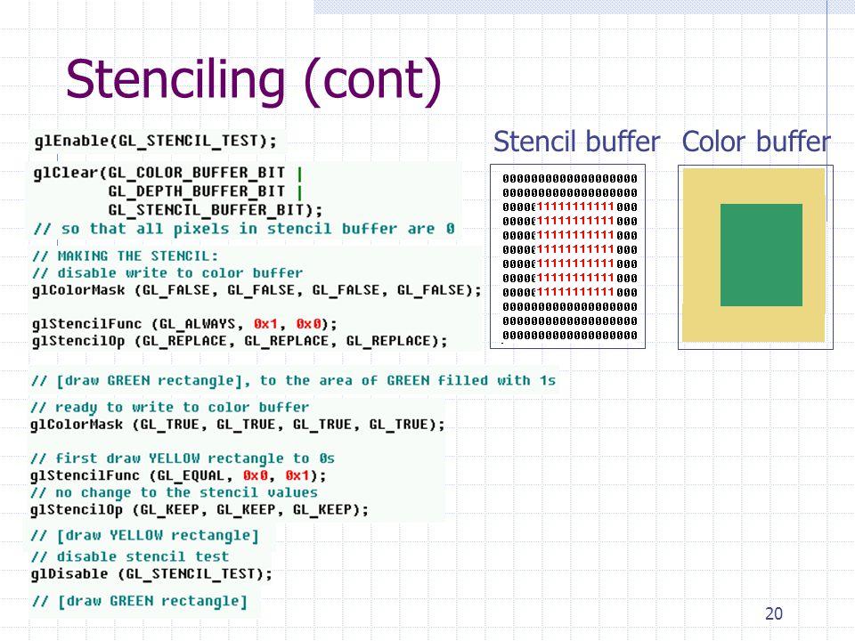 Stenciling (cont) Stencil buffer Color buffer