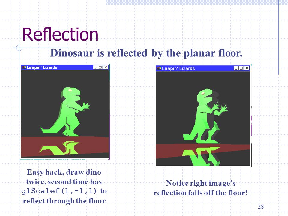 Notice right image's reflection falls off the floor!