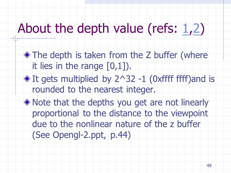 About the depth value (refs: 1,2)