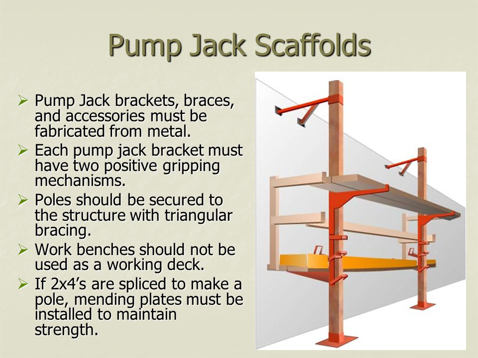 Pump Jack Scaffolds Pump Jack brackets, braces, and accessories must be fabricated from metal.