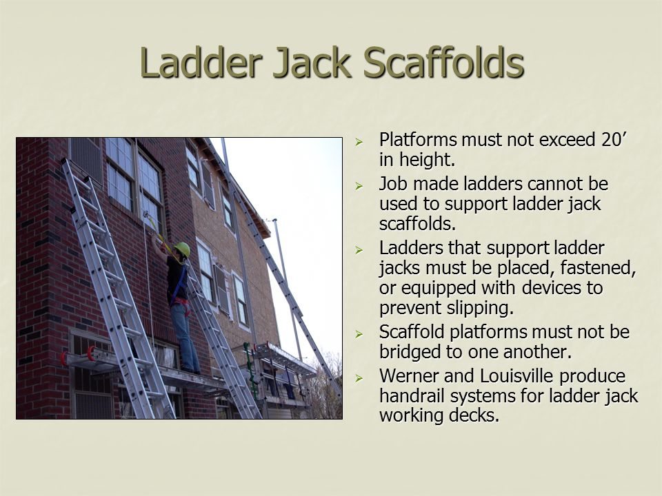 Ladder Jack Scaffolds Platforms must not exceed 20' in height.