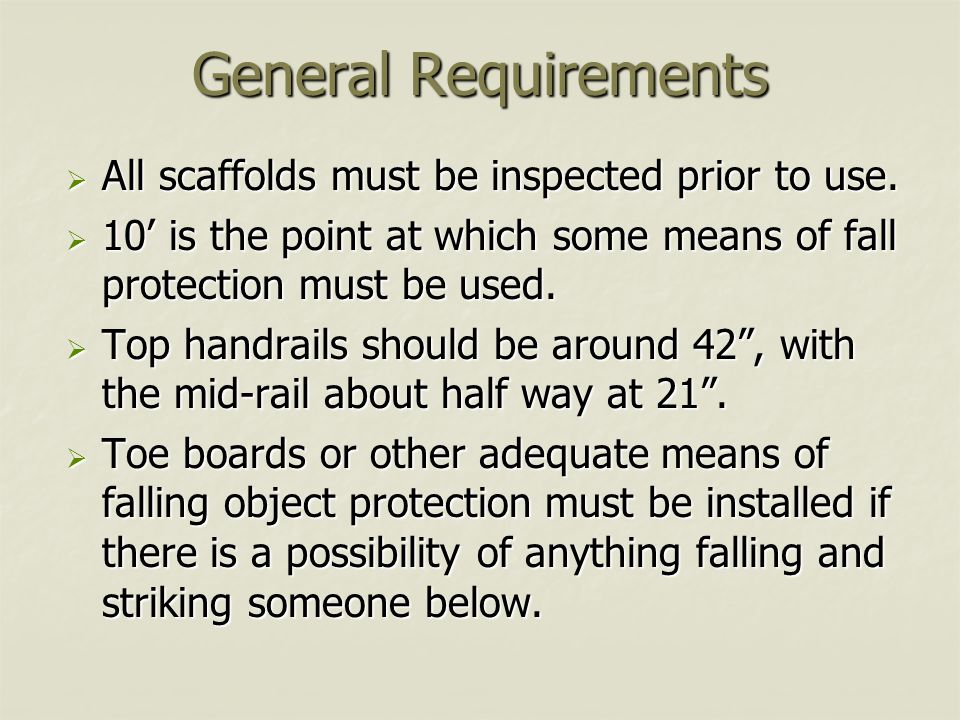 General Requirements All scaffolds must be inspected prior to use.