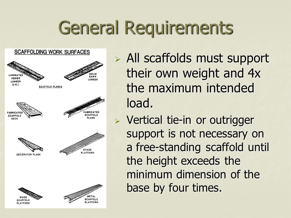 General Requirements All scaffolds must support their own weight and 4x the maximum intended load.