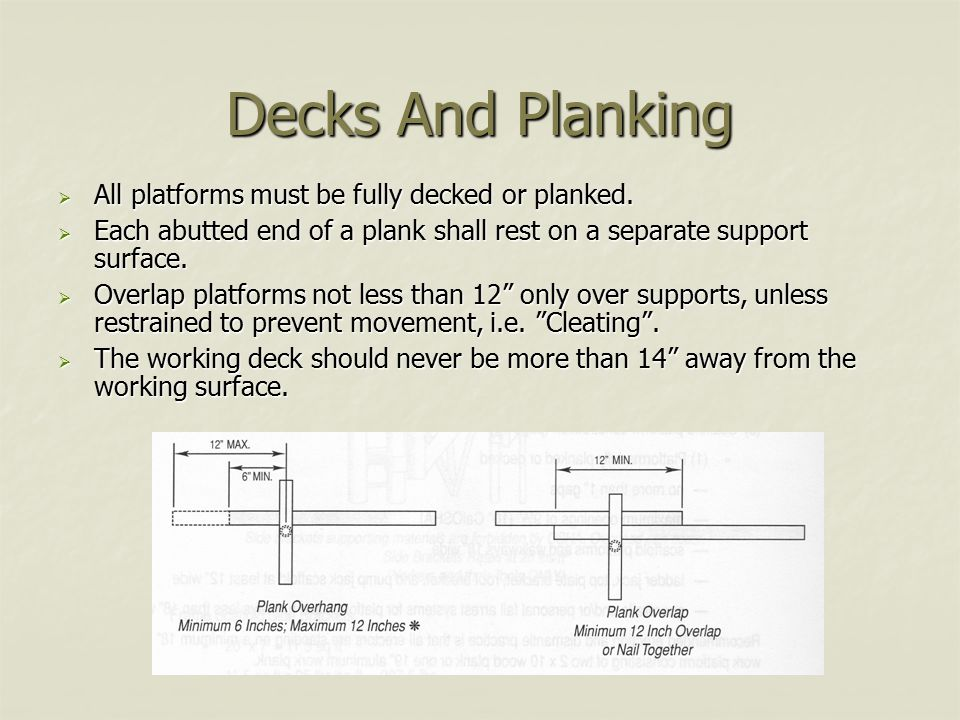 Decks And Planking All platforms must be fully decked or planked.