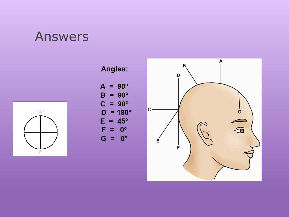 Answers Angles: A = 90° B = 90° C = 90° D = 180° E = 45° F = 0° G = 0°