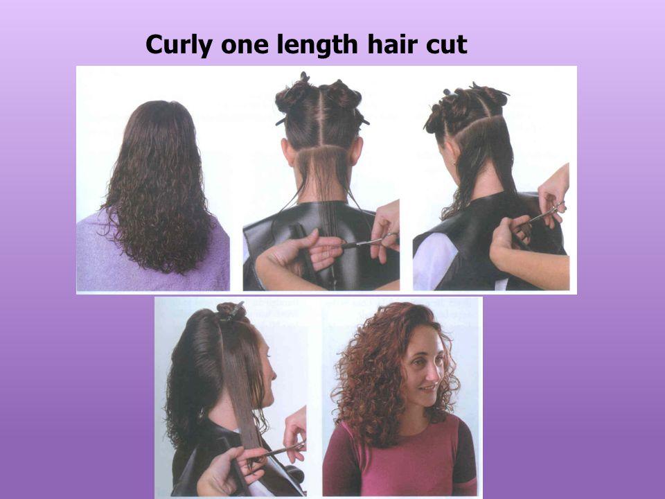 Curly one length hair cut