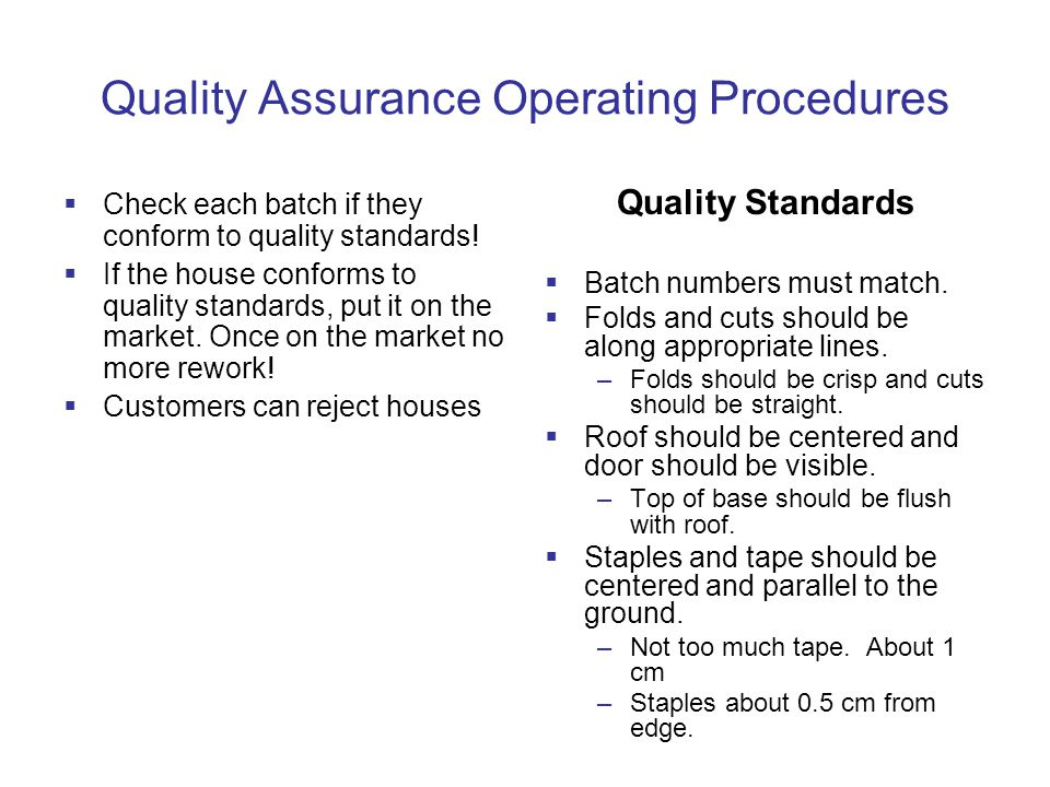Quality Assurance Operating Procedures