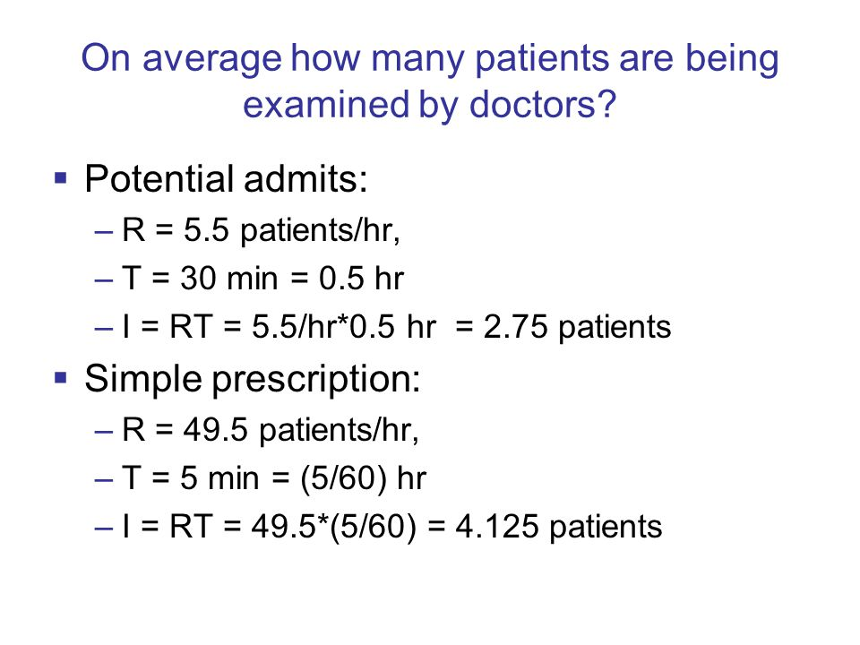 On average how many patients are being examined by doctors