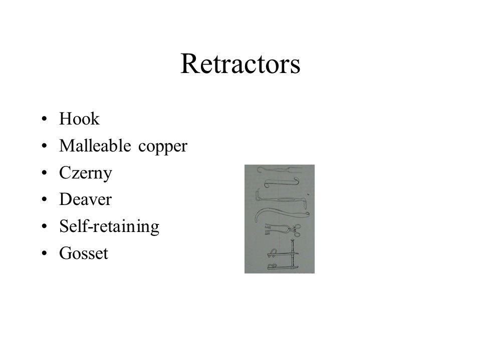 Retractors Hook Malleable copper Czerny Deaver Self-retaining Gosset