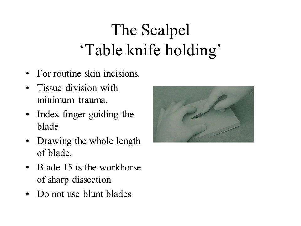 The Scalpel 'Table knife holding'