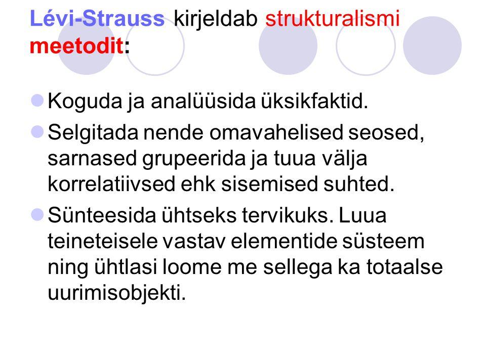 Lévi-Strauss kirjeldab strukturalismi meetodit:
