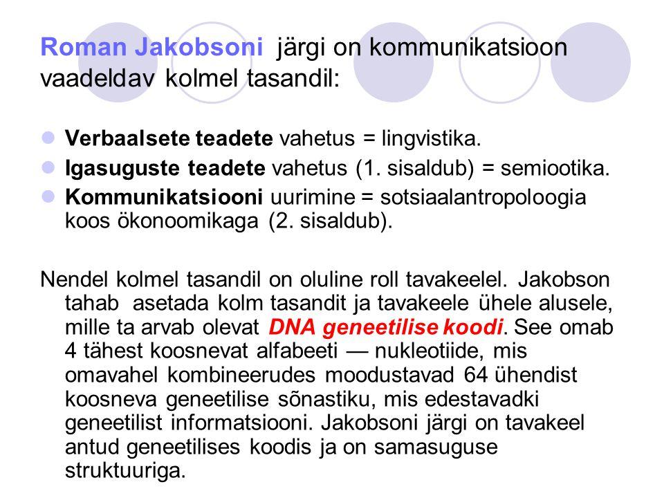 Roman Jakobsoni järgi on kommunikatsioon vaadeldav kolmel tasandil: