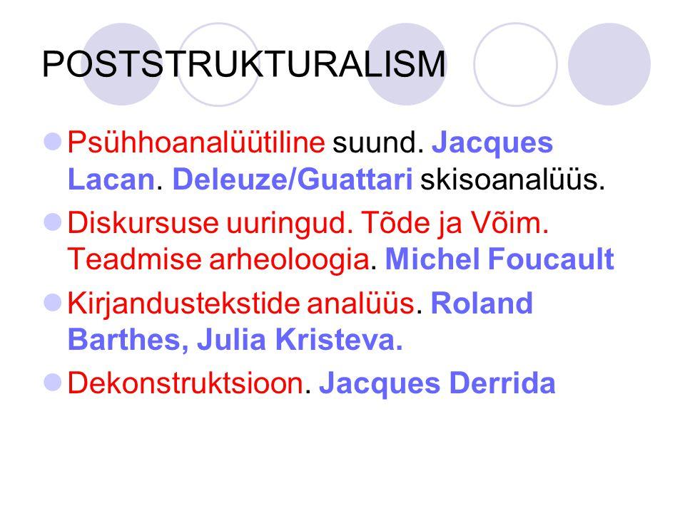 POSTSTRUKTURALISM Psühhoanalüütiline suund. Jacques Lacan. Deleuze/Guattari skisoanalüüs.