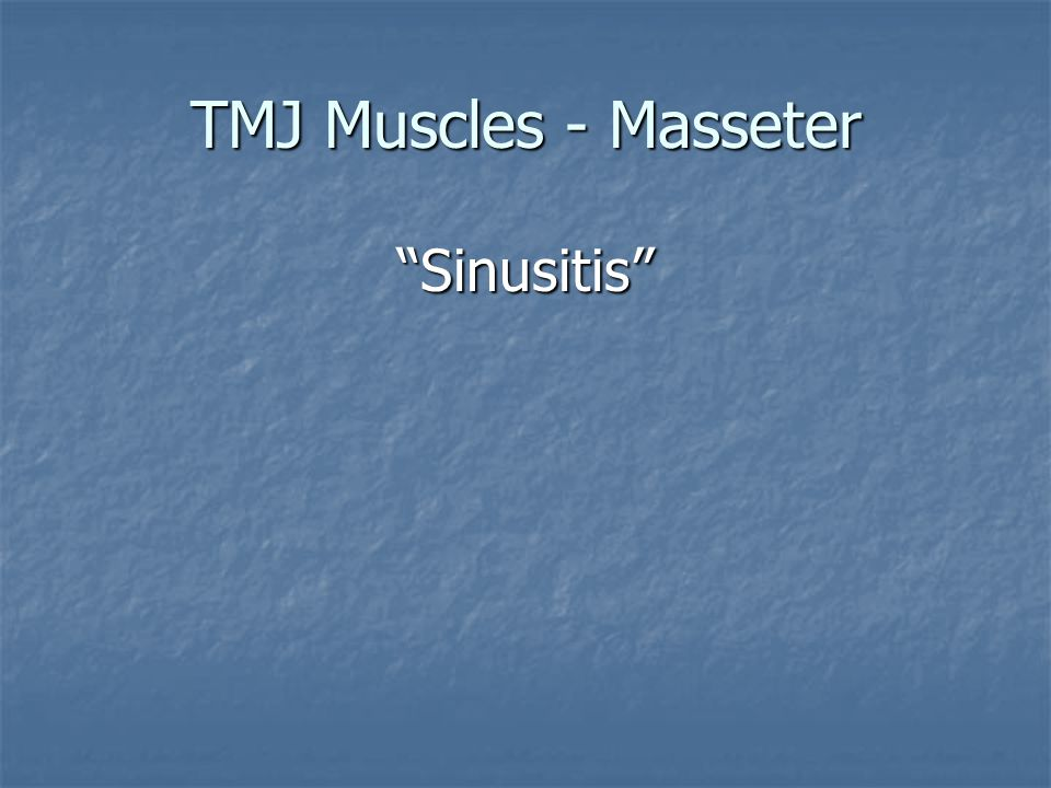 TMJ Muscles - Masseter Sinusitis