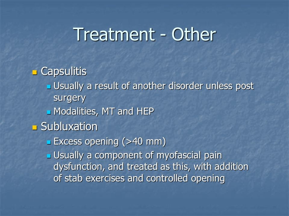 Treatment - Other Capsulitis Subluxation