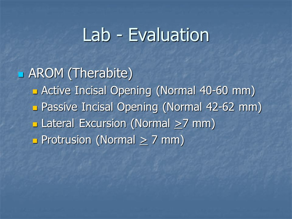 Lab - Evaluation AROM (Therabite)