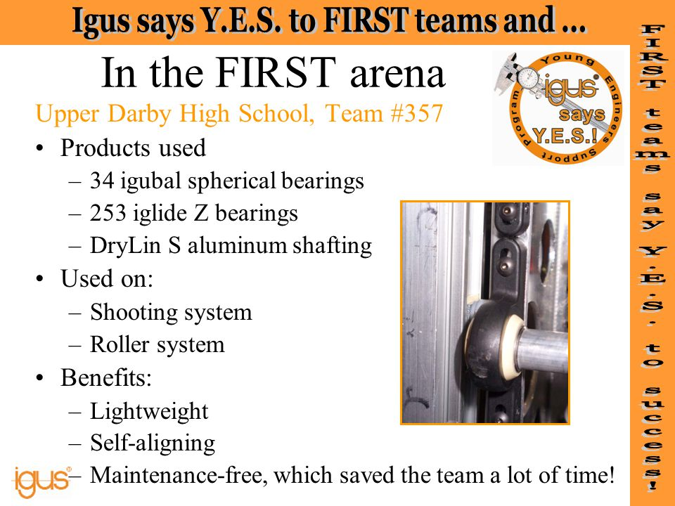 In the FIRST arena Upper Darby High School, Team #357 Products used