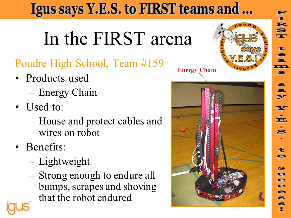 In the FIRST arena Poudre High School, Team #159 Products used