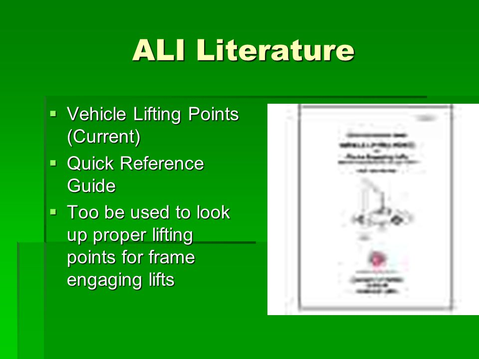 ALI Literature Vehicle Lifting Points (Current) Quick Reference Guide