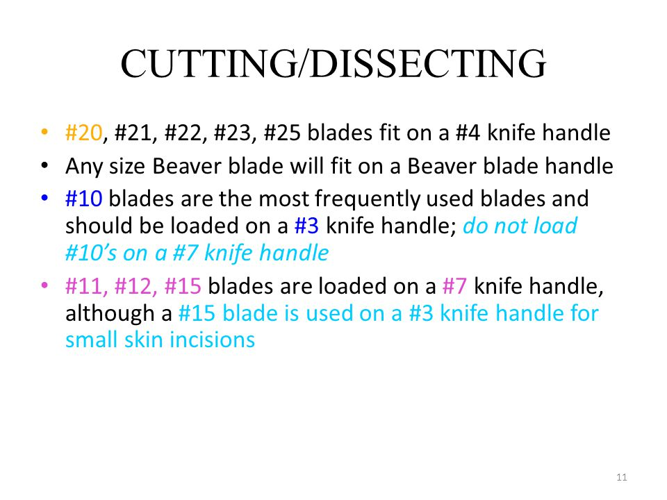CUTTING/DISSECTING #20, #21, #22, #23, #25 blades fit on a #4 knife handle. Any size Beaver blade will fit on a Beaver blade handle.
