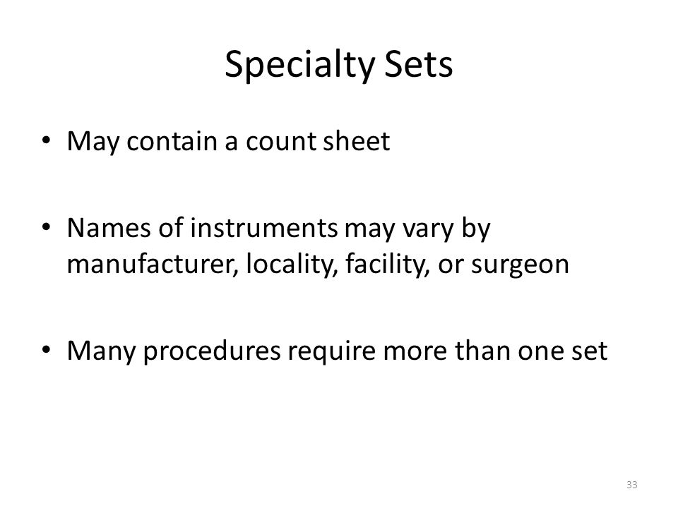 Specialty Sets May contain a count sheet