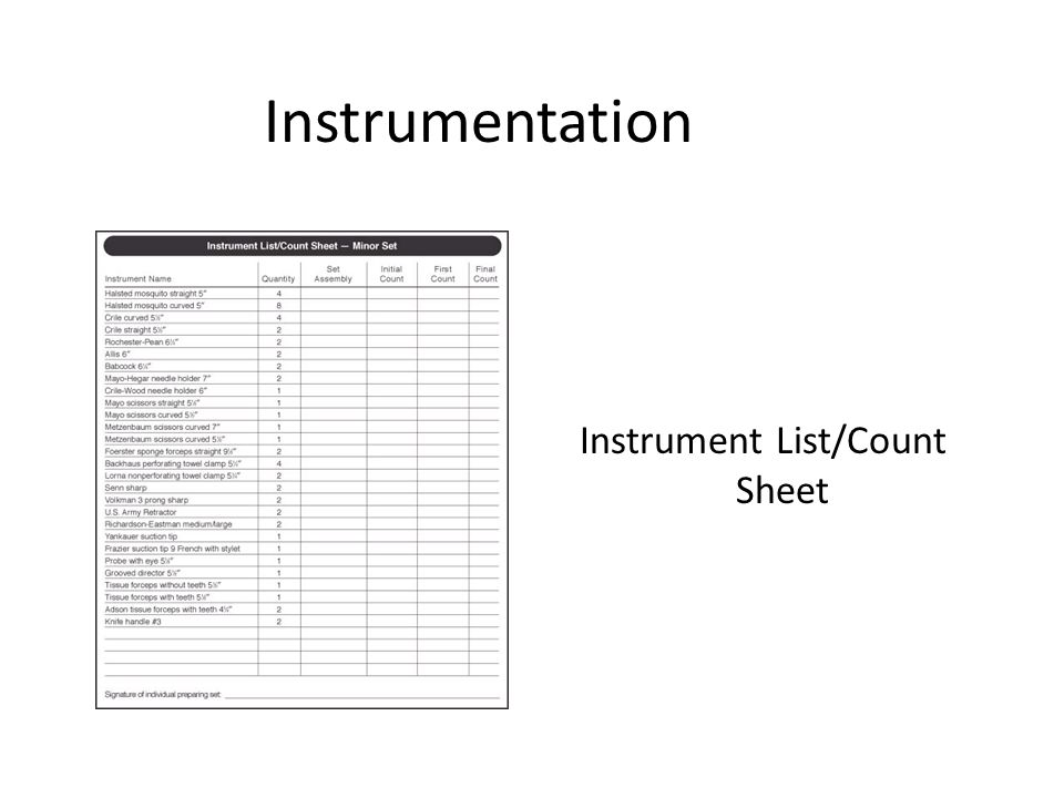 Instrument List/Count Sheet