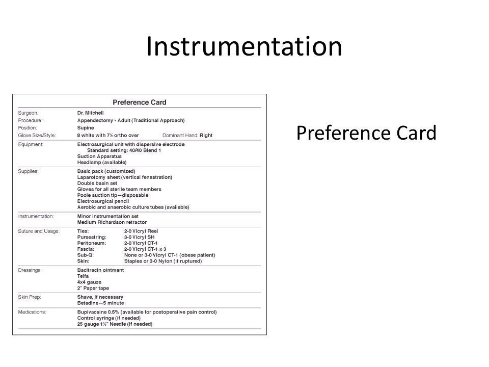Instrumentation Preference Card