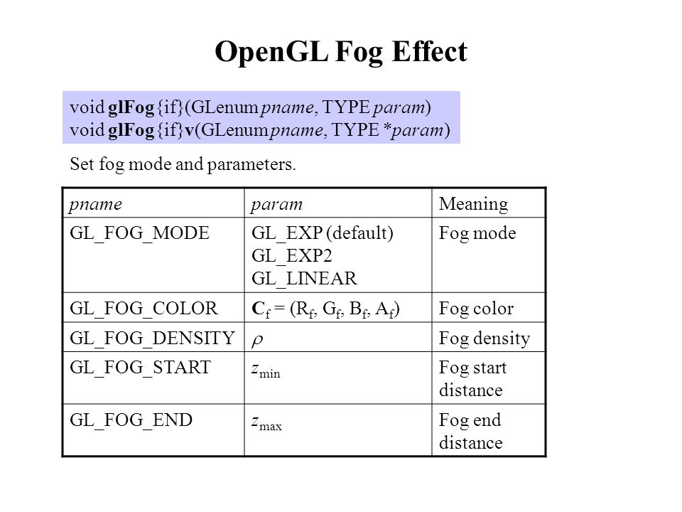 OpenGL Fog Effect void glFog{if}(GLenum pname, TYPE param)
