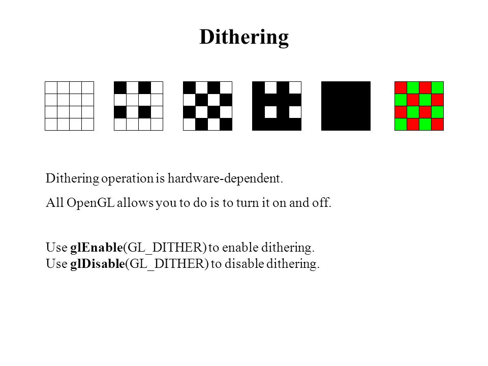 Dithering Dithering operation is hardware-dependent.