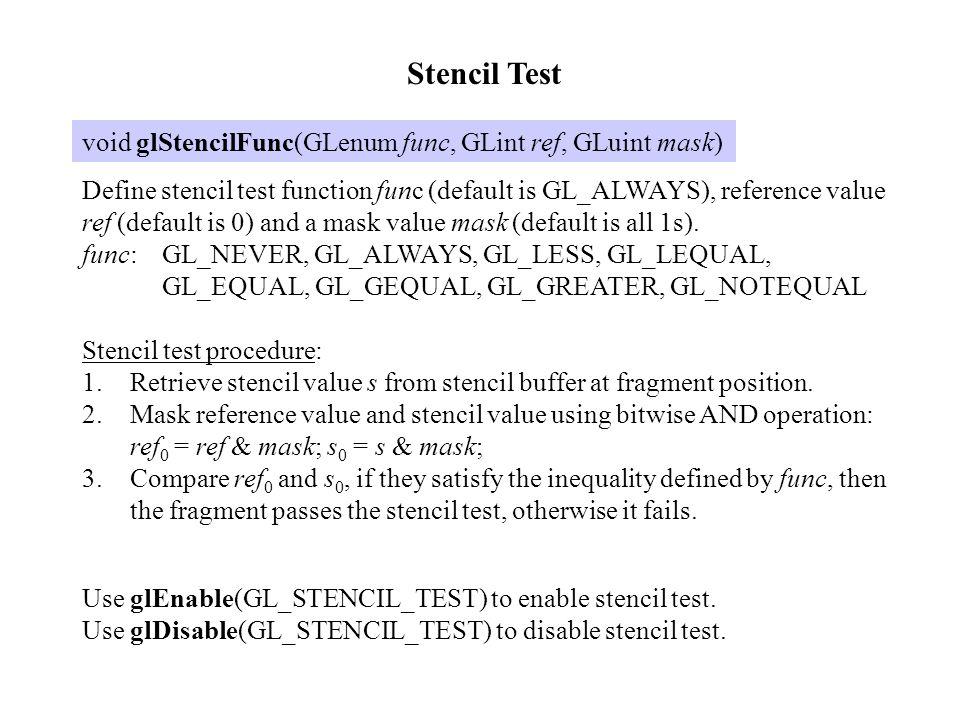 Stencil Test void glStencilFunc(GLenum func, GLint ref, GLuint mask)