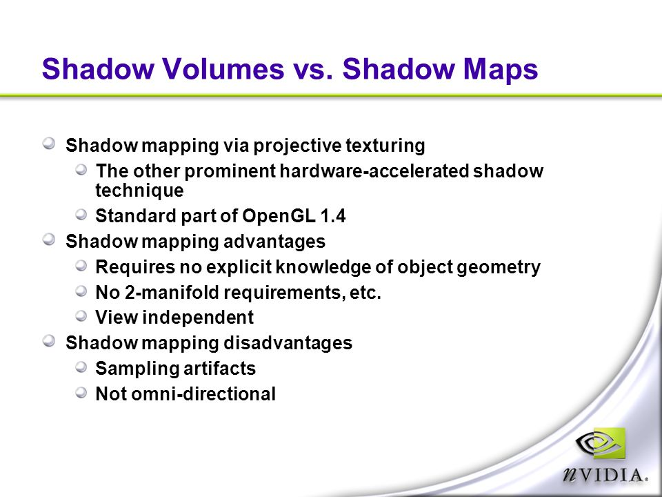 Shadow Volumes vs. Shadow Maps
