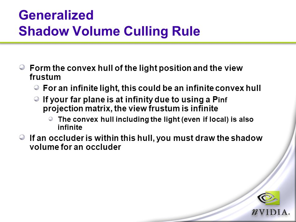 Generalized Shadow Volume Culling Rule
