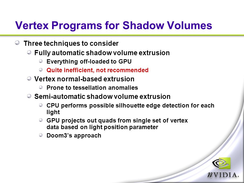Vertex Programs for Shadow Volumes