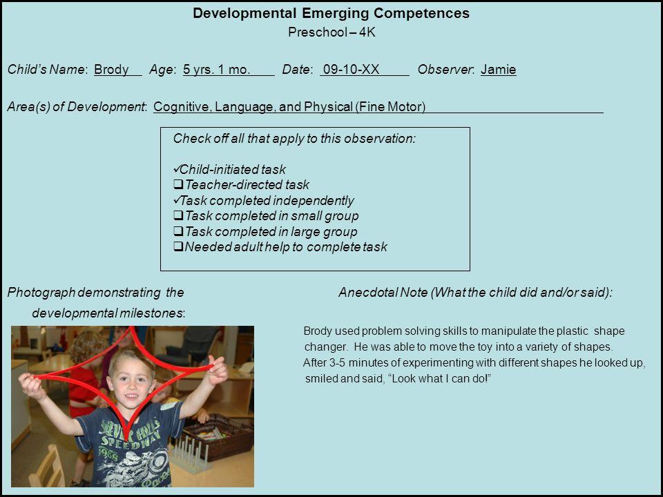 Developmental Emerging Competences