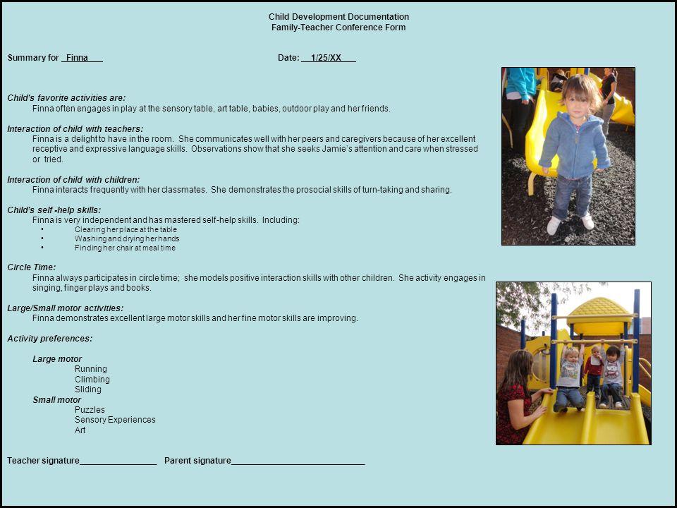 Child Development Documentation Family-Teacher Conference Form